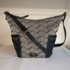 FOSSIL Emerson Jacquard & Leather Hobo Bag